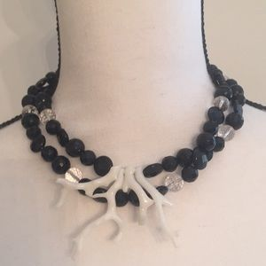 Jewelry - Handmade Black and Clear Glass Bead w Faux Coral